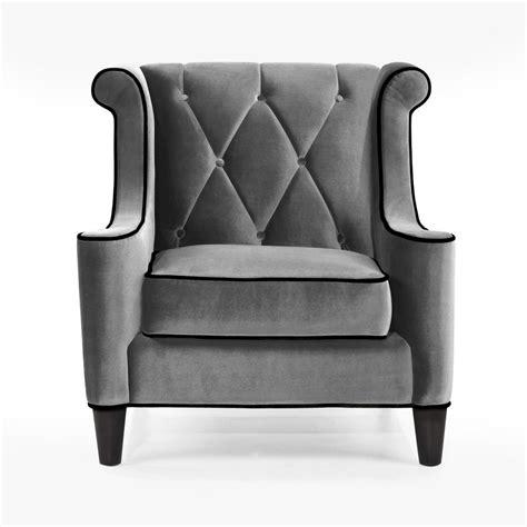 armen living barrister chair gray velvet black piping al