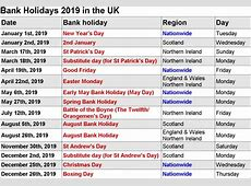Free 2019 Printable calendar with US & UK Holidays