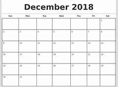 December 2018 Calendar Print Zip Calendar Template Printable