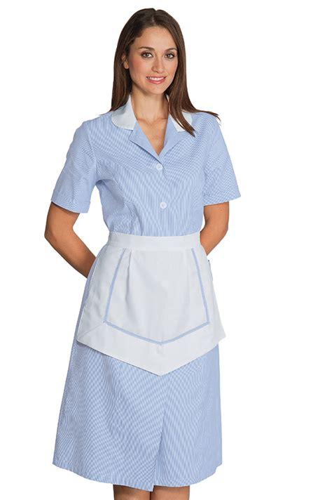 ensemble femme de chambre manches courtes 100 coton 233 bleu blanc hotellerie blouse femme