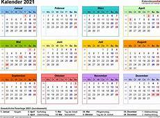 Kalender 2021 zum Ausdrucken in Excel 16 Vorlagen