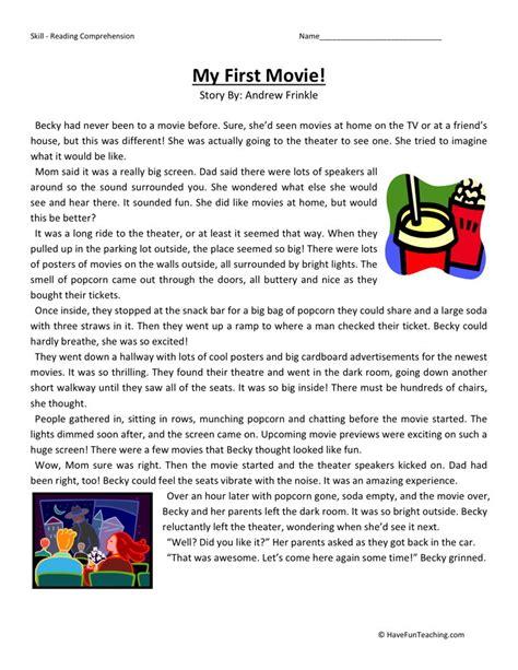 Reading Comprehension Worksheet  My First Movie