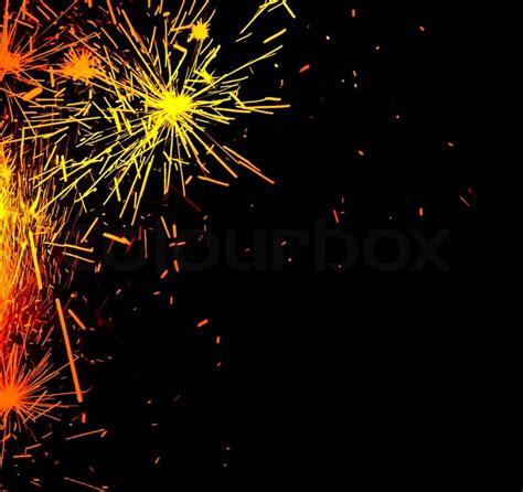 Bright Border Of Firework Sparks Isolated On Black