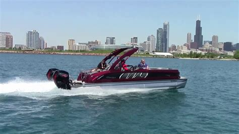 Twin Engine Pontoon by Manitou X Plode With Twin Mercury 400r Racing Outboards