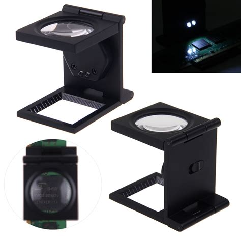 8x three folding magnifier magnifying loupe glass stand linen tester led light ebay