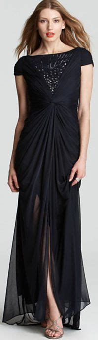 Adrianna Papell Beaded Boat Neck Cap Sleeve Gown by Long Dress 02 Isabella Fashions Mother Of The Bride