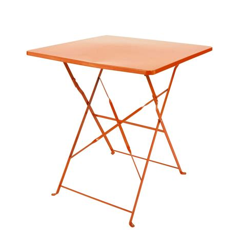 table pliante de jardin en m 233 tal orange l 70 cm guinguette maisons du monde