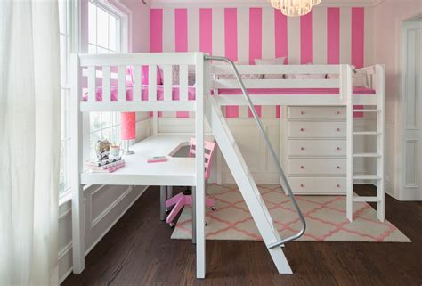 l shaped white stained wooden loft bed with two ladder