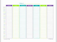 Weekly Calendar By Hour weekly calendar template
