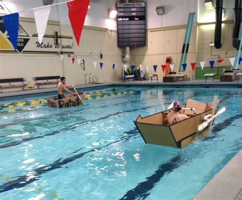 How To Make A Cardboard Boat With Only Duct Tape by The Leaf Engineering Classes Race Cardboard Boats