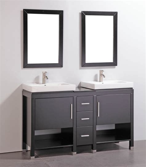 granite top 60 inch sink bathroom vanity with matching dual mirrors contemporary