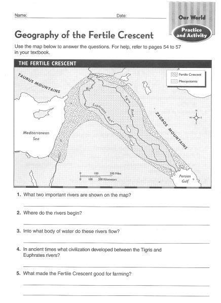 Worksheet Fertile Crescent Geography Printable