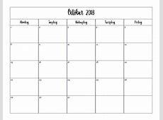20182019 Printable Calendar Weekdays Only by Elizabeth