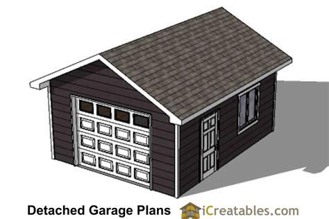 16x20 1 car 1 door detached garage plans