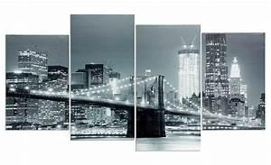 Bild 3 Teilig Auf Leinwand : wandbild 4 teilig new york brooklyn bridge usa amerika bild leinwand kaufen bei living by design ~ Markanthonyermac.com Haus und Dekorationen