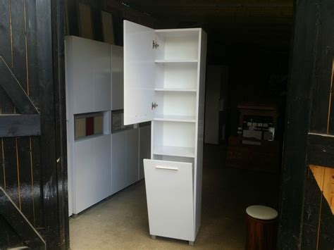 Tall Bathroom Cabinet With Laundry Basket 400mm Wide White