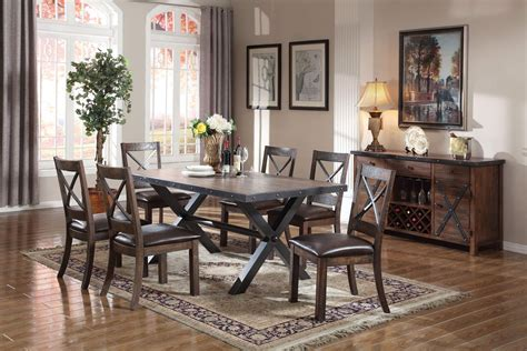 7 Piece Acme Earvin Weathered Oak Dining Set Usa