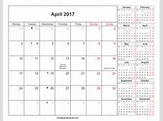 April 2017 Calendar With Holidays weekly calendar template