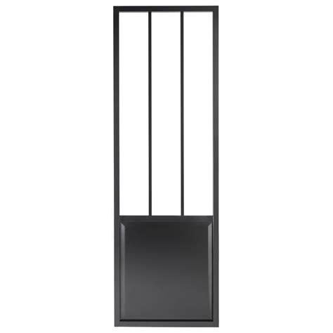 porte coulissante aluminium noir atelier verre clair artens h 224 x l 93 cm leroy merlin