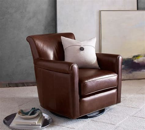 irving leather swivel rocker pottery barn