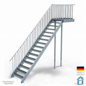 Holztreppen Geländer Selber Bauen : au entreppe stahl mit 16 steigungen in 80 cm stufenweite mit podest bausatztreppe komplett ~ Markanthonyermac.com Haus und Dekorationen