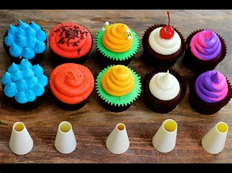 five cupcake frosting styles using a piping tip 5