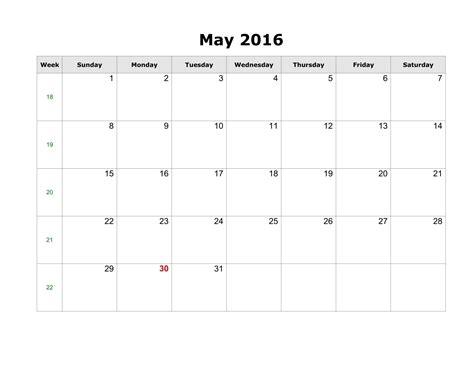 May 2017 Printable Calendar Landscape
