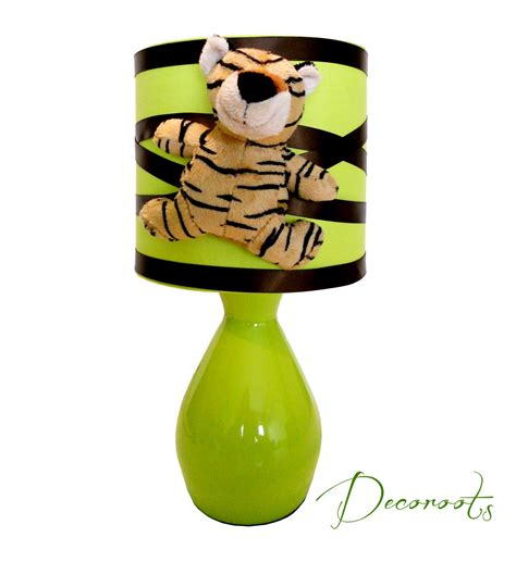le de chevet tigre th 232 me jungle vert et marron chocolat enfant b 233 b 233 luminaire enfant b 233 b 233