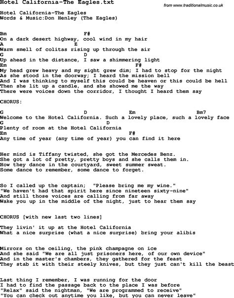 Lyrics And Chords To Hotel California