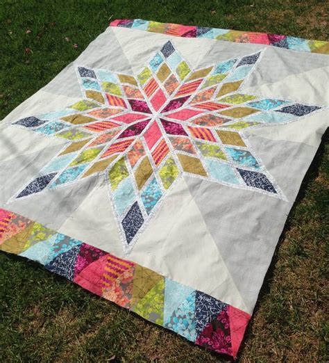Triangle Quilt Border Templates by Lone Star Bed Quilt Diamond Shapes With 1in White In