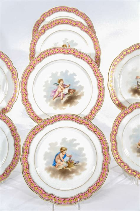 set of 10 choisy sevres style cabinet plates with putti for sale at 1stdibs