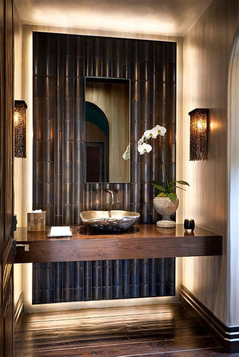 Hot Summer Trend 25 Dashing Powder Rooms With Tropical Flair. El Dorado Stone. Industrial Night Stand. Modern Leather Sectional. Tile Floor Ideas. Outdoor Window Trim. Painted Brick Fireplaces. Brass Side Table. Built In Media Center