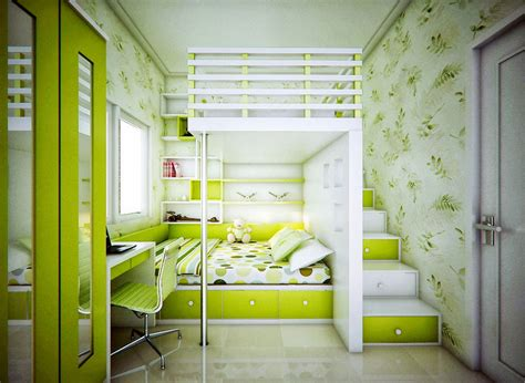 Catchy Kids Bedroom With Lime Green Color Ideas-interior