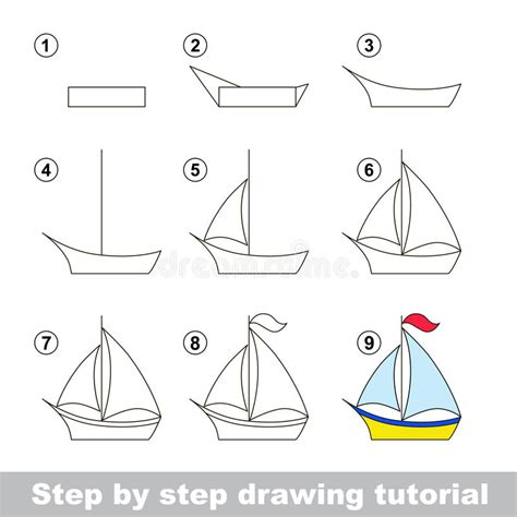 How To Draw A Cartoon Boat Step By Step by Drawing Tutorial How To Draw A Boat Stock Vector