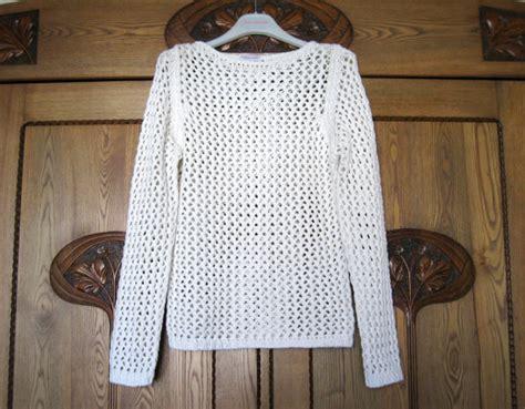 White Knitted Sweater Pullover Lace Stricken Von Vintagedreambox