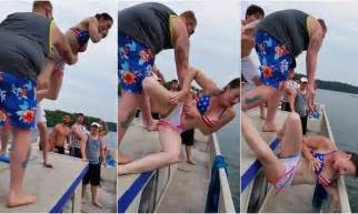 Drunk On A Boat by Man Chucks Girls From Boat Only For Her To Fall Neck First
