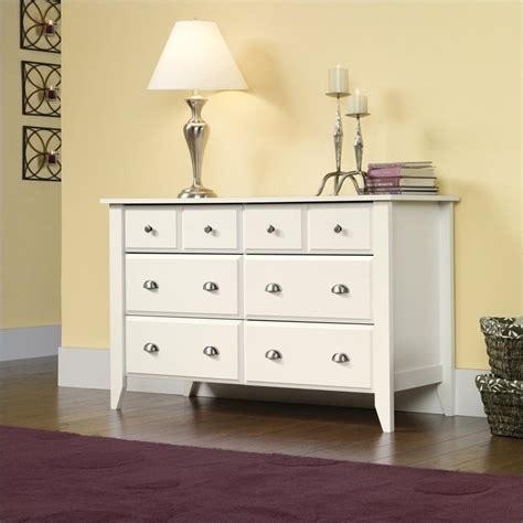 sauder shoal creek dresser in soft white finish 437756