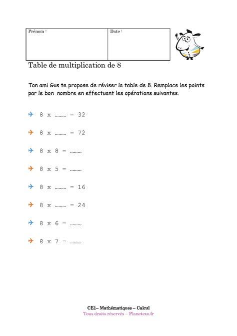 exercice corrig 233 pour le ce1 table de multiplication de 8