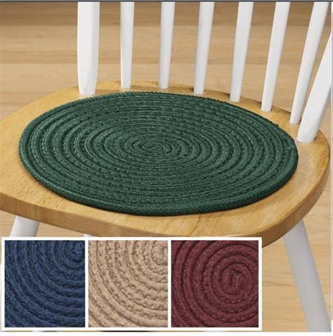 solid colored braided chair pads set of 2 classic look for kitchen chairs ebay