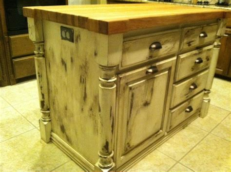 Before And After Shots Of Distressed Pine Kitchen Island