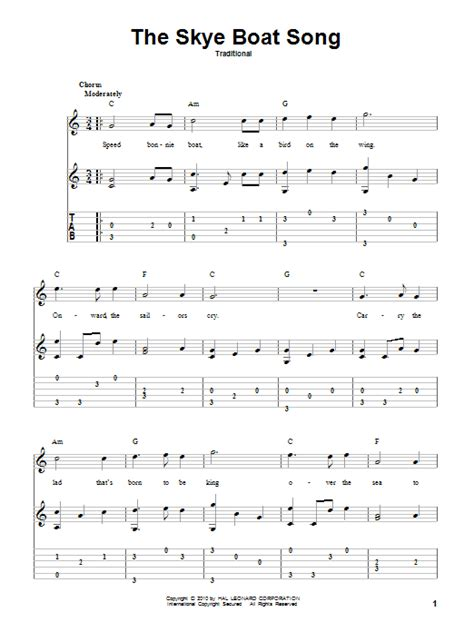 Love Boat Theme Guitar Chords by The Skye Boat Song Sheet Music Direct