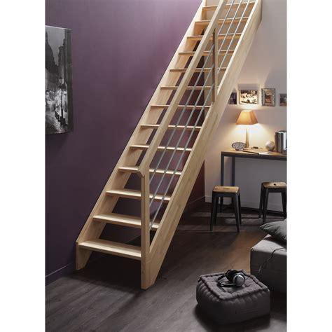 escalier droit structure bois marche bois leroy merlin
