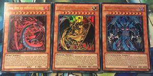 Yugioh! 3x Götter Karten Set Uria,hamon,raviel Lc02