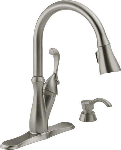 delta 174 arabella 1 handle pull sprayer kitchen faucet with soap dispenser at menards 174