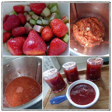 confitures fraises rhubarbe version avec thermomix la guillaumette