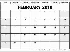 February 2018 Calendar Cute calendar printable free