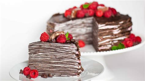 chocolate crepe cake chocolate raspberry crepe cake tatyanas everyday food
