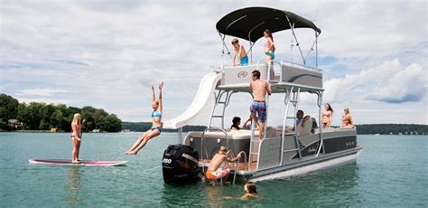 Pontoon Party Boat With Slide by Double Decker Pontoon Boat With Slide Paradise Funship