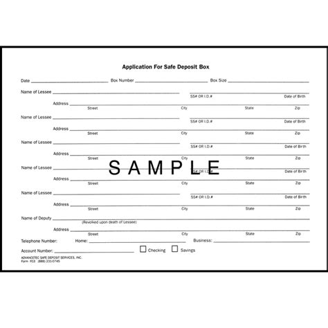 safe deposit box inventory form safe deposit forms advancetec