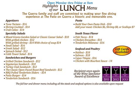 our menu the patio on guerra in downtown mcallen 956